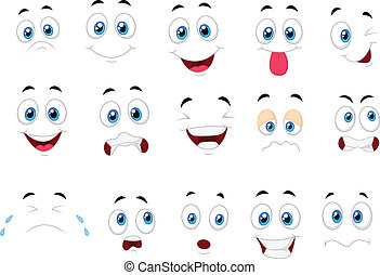 uttryck, olika, tecknad film, ansikte