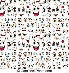 uttryck, seamless, ansiktsbehandling