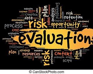 utvärdering, begrepp, ord, moln, etikett