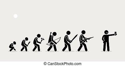 utveckling, av, mänsklig, vapen, på, a, historia, timeline.