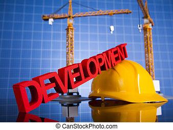 utveckling, bebyggelse, konstruktion under, bakgrund