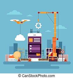 utveckling, begrepp, nät, mobil, app, programmering, mobiltelefon, ansökan, smart