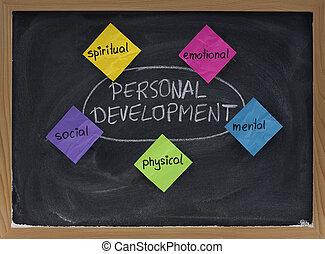 utveckling, blackboard, personlig, begrepp