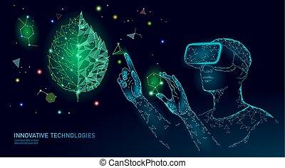utveckling, ekologi, gmo, organisk, vetenskap, technology., hjälm, glasses., concept., augmented, natur, ingenjörsvetenskap, realitet, växt, medicinsk, dna, gen, vr, illustration, nyskapande, nymodig, vektor