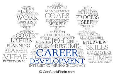 utveckling, karriär, etikett, ord, moln