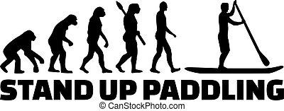 utveckling, stå upp, paddla, klunk