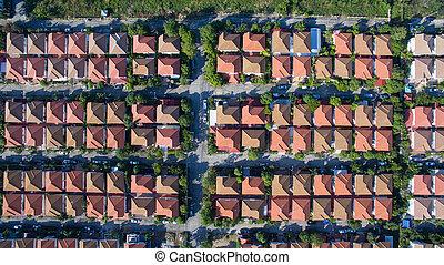 utveckling, verklig, bra, antenn, egendom, bostads, miljö, ...