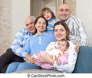 utvecklingar, hem, tre, familj, glad