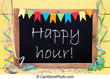 uur, tekst, chalkboard, versiering, feestje, vrolijke