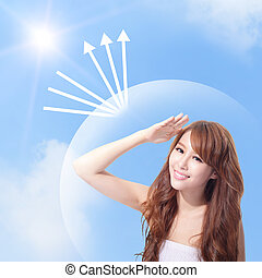 UV care and woman face with sunshine