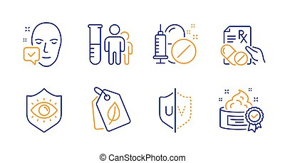 Uv protection, Bio tags and Face accepted icons set. Vector