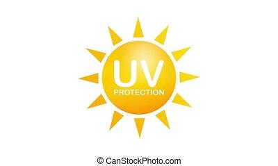 Uv protection. Sun icon symbol. Danger symbol. Uv radiation. Motion graphics