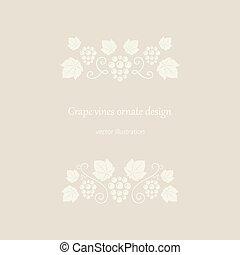 uva, beige, viti, ornates