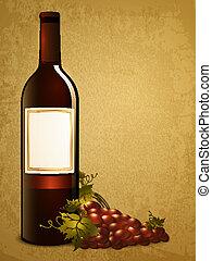 uva, botella roja, vino