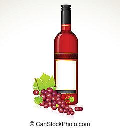 uva, bottiglia, vino