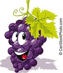uva, caricatura, vinho