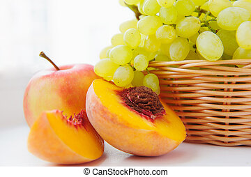 uva, cesto, bianco, mela, pesca
