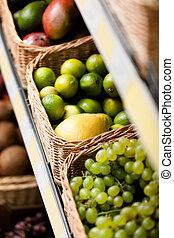 uva, cima, otro, limones, fruits, vista