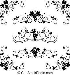 uva, disegno, elements.
