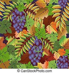 uva, frutta, seamless, illustrazione, autunno, vettore, scheda