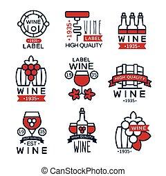 uva, jogo, vindima, abstratos, etiquetas, cobrança, emblemas, vetorial, ilustrações, vinho tinto