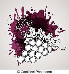 uva, manifesto, vino, casa, frutte