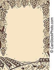 uva, marrone, cornice, retro, verticale