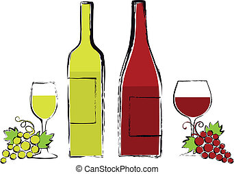 uva, occhiali, bottiglie, vino