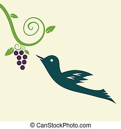 uva, pájaro
