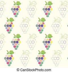 uva, padrão, fundo, cute