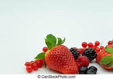 uva passa di corinto, berries., spazio, fragole, mirtilli, più basso, bianco, testo, fragole, more, sinistra, primo piano, angolo, top., fondo., lamponi, vista