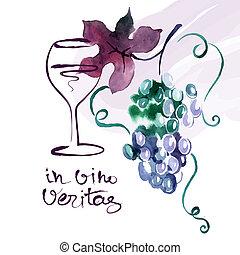 uva, pintado, leaves., ilustración, acuarela, vector, tarjeta