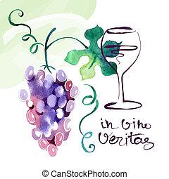 uva, pintado, leaves., ilustración, acuarela, vector,...
