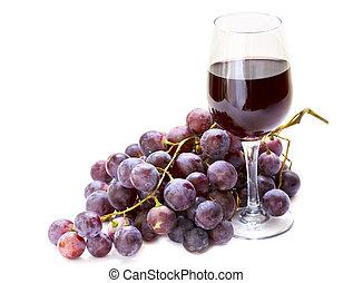 uva roja, con, vaso de vino