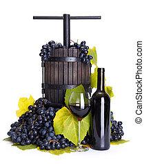 uva, utensilio, manual, planchado, vino rojo