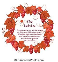 uva, uvas, hojas, guirnalda, aislado, mano, vector, plano de fondo, blanco, dibujo