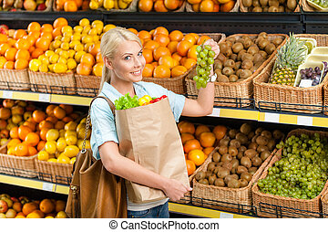 uva, vegetales, bolsa, escoger, manos, fresco, niña