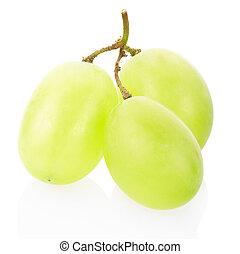uva verde, fruta, aislado