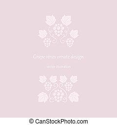 uva, vides, ornates, rosa
