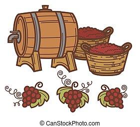 uva, winepress, vite, vettore, barile, vino, raccogliere, winemaking, icona