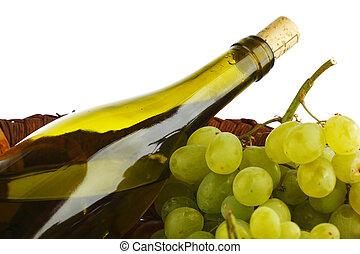 uvas brancas, garrafa, vinho