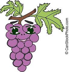 uvas, character., divertido, garabato, caricatura, vegetable., plano, vector, ilustración común