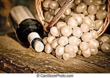 uvas, closeup, garrafa, vinho, vermelho, grupo
