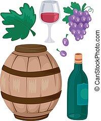 uvas de vino, barril