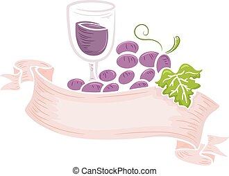 uvas de vino, cinta, etiqueta