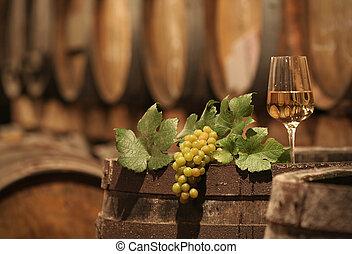uvas de vino, en, un, bodega