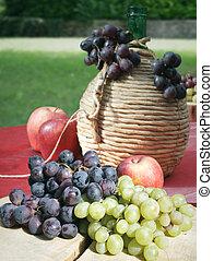 uvas, manzanas, y, tanque, de, vino