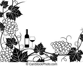 uvas, marco, ilustración