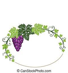 uvas, quadro, com, folhas, branco