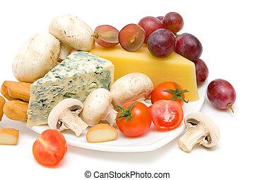 uvas, queijo,  close-up, cogumelos, tomates